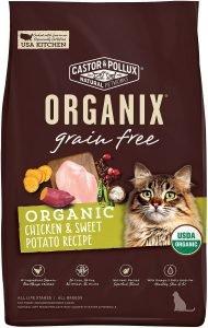 castor pollux organix dry cat food bag