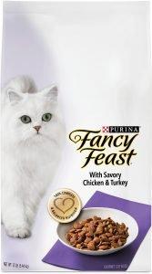 fancy feast gourmet dry cat food bag