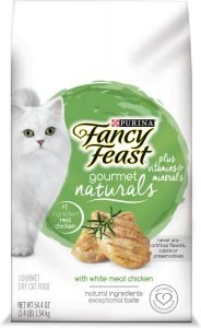 fancy feast gourmet naturals dry cat food bag
