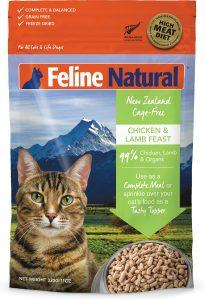 feline natural freeze dried cat food bag