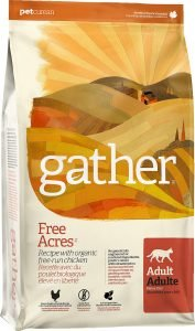gather free acres dry cat food bag