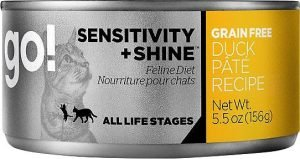 go sensitivity and shine wet cat food can