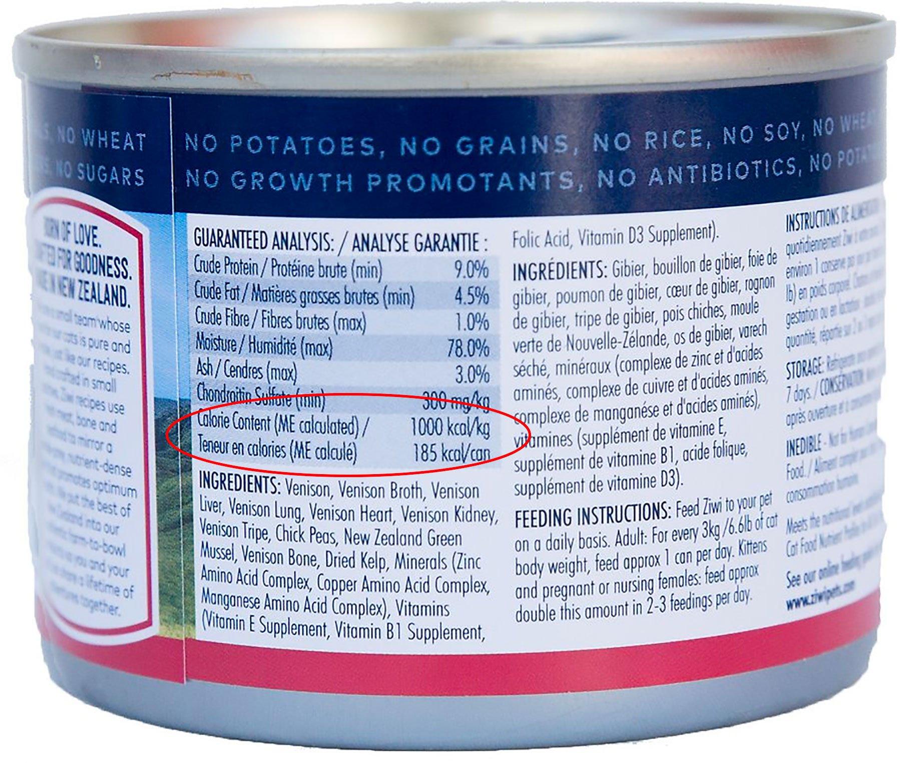 amount of calories in wet cat food