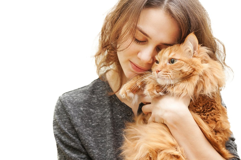 young woman 20 years with a fluffy red cat isolated gps tracker for cats